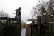 Tony preparing to jump over to the other lock gate
