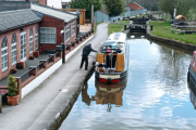 Waiting to go down the locks at Cheddleton