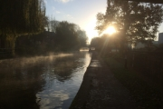 ....and where we moored for lockdown - an autumn misty morning.