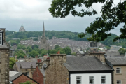 View from Lancaster Castle over to the Cathedral and Ashton Memorial