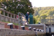 Tony trying to work out how to use an automatic Thames lock!