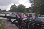 Rhys and Ash in charge of the boat